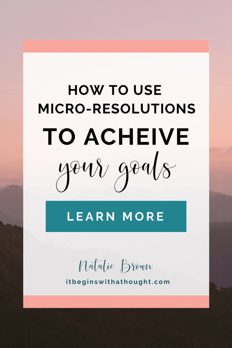 Set yourself up for success by using what I call micro-resolutions. Learn the specific reason why certain goals succeed--and how to make sure yours do!